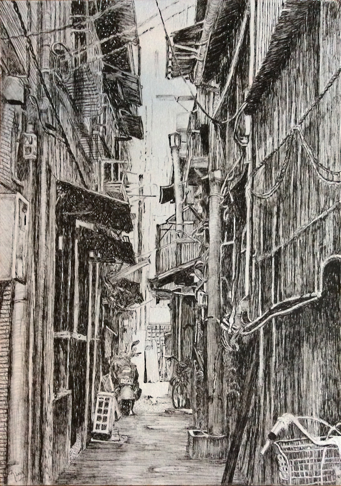 pen and ink drawing, looking down a narrow alleyway with a parked motorbike and two bicycles and a small white cat with black ears.