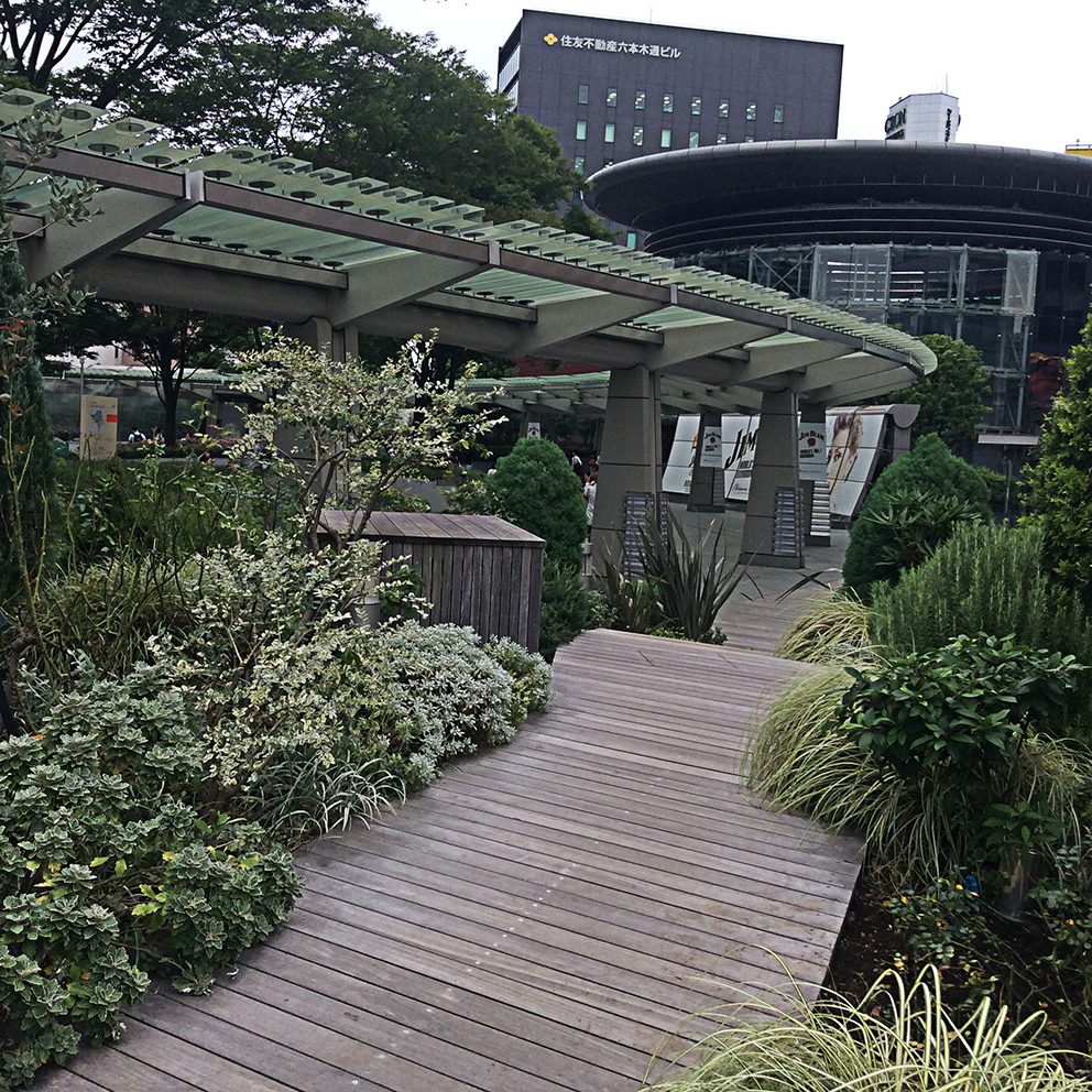 a wooden walkway leads through green and white foliage plants to Roppongi Hills shopping