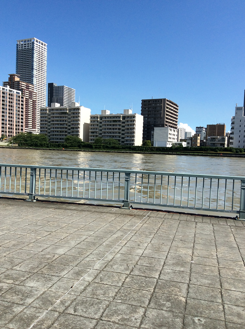 foreground is steamy pavers, the flooded river, midground, flows behind pale blue railings, sunlit highrise and skyscraper form the background together with clear blue sky and one low almost invisible white cloud