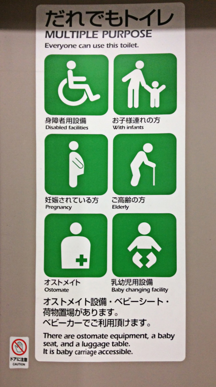In Japanese, English and easily comprehendable drawings, this familiar green, white and black notice as seen on a local accessible loo