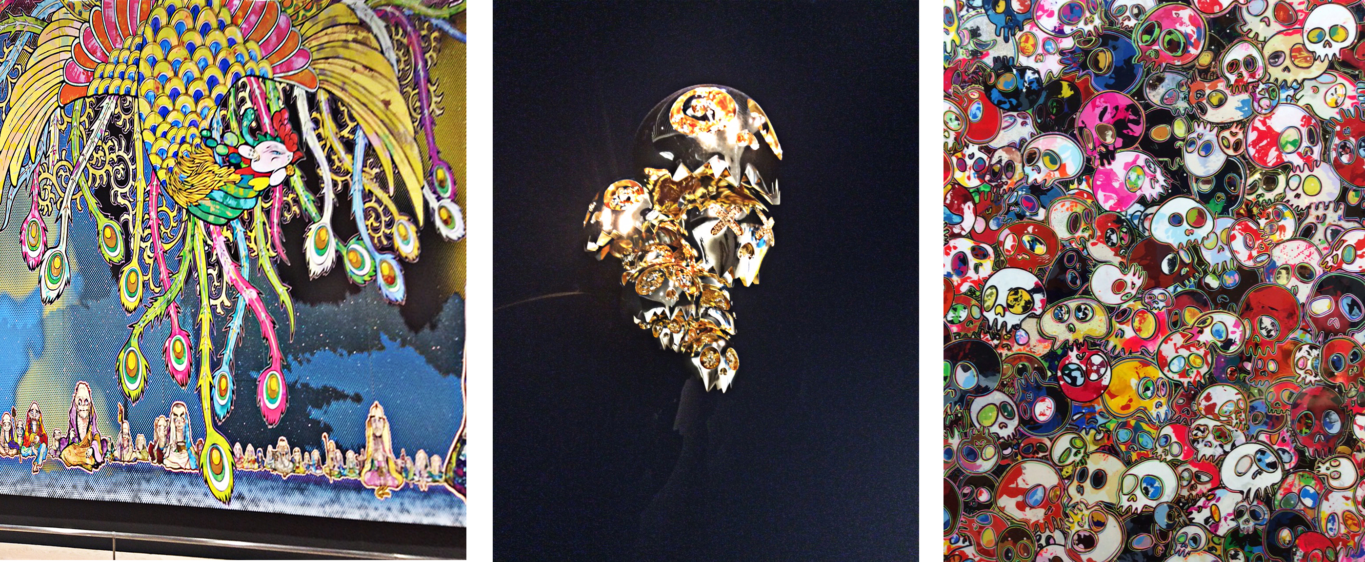 composite image of three views of the exhibition. In the centre is a gold abstract sculpture against a black background; on the right massed white and multi-coloured skulls and on the left a colourful peacock inspired inspired tail or sleeve with a fist holding a mouse-like creature.