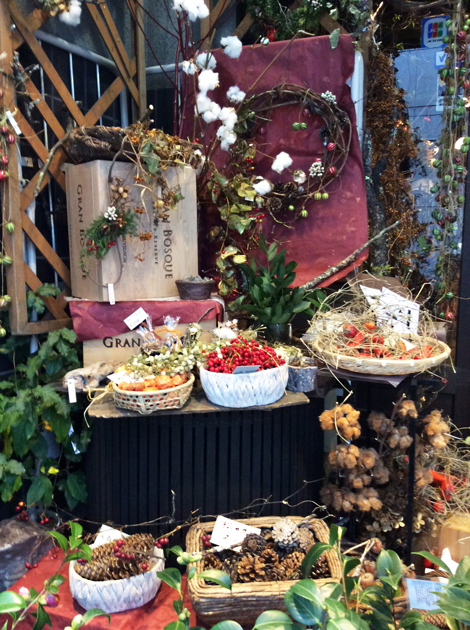 Outside my favourite flowershop are displays of seasonal fruits: red berries, fir cones and seed heads, together with glossy green leaves and twiggy wreaths displayed on boxes and in baskets.