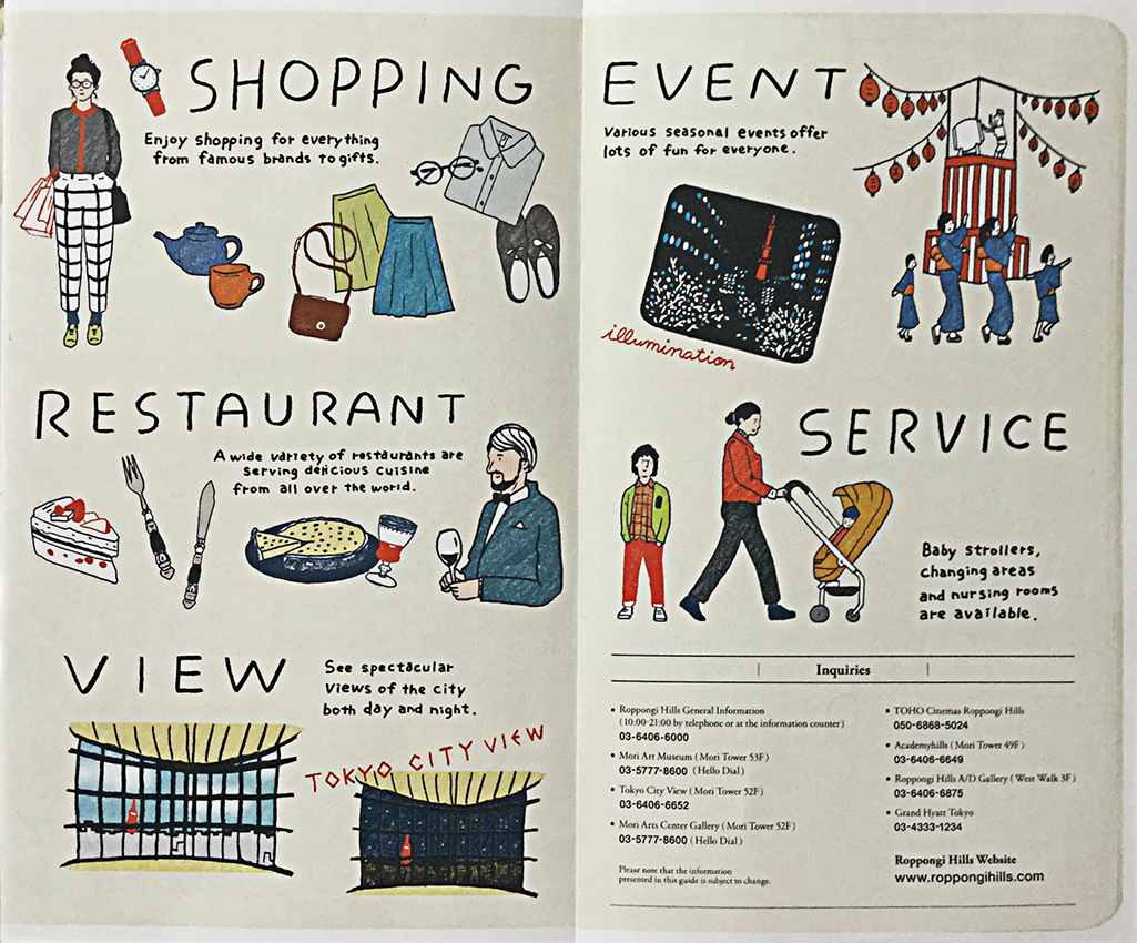 leaflet with drawings of people shopping, eating, viewing Tokyo, being entertained and using local services, all with English text.