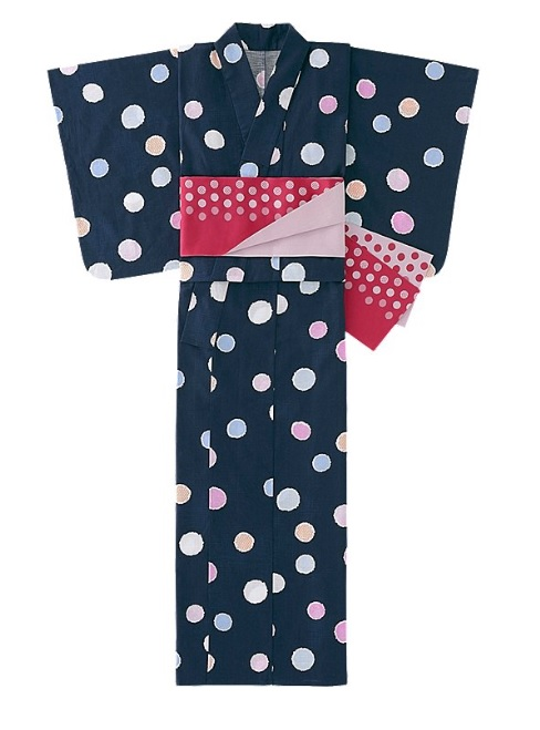 Japanese summer garment in black with medium sized pastel dots with a bright red obi tied around the middle
